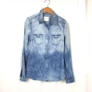 Chambray Bleached shirt Pearl snaps ombre